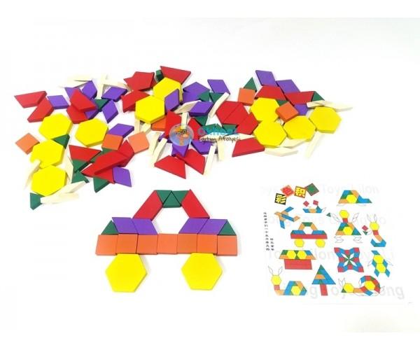 125 Parça Ahşap Puzzle Eğitici Tangram Seti