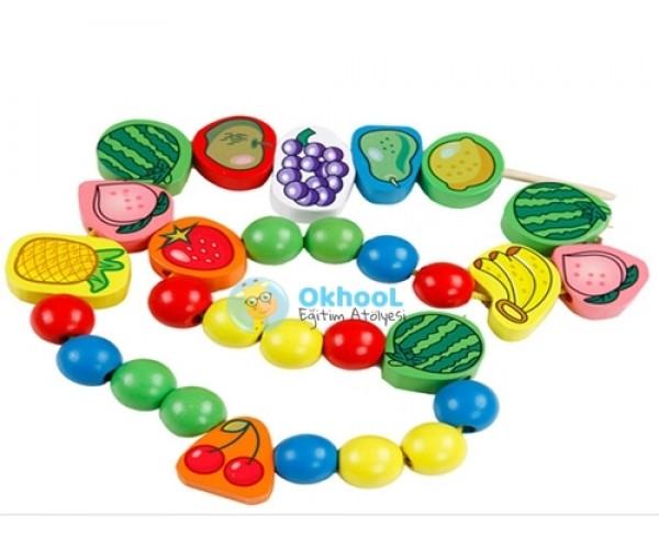 İpe Ahşap Meyve ve Boncuk Dizme Seti 57 Parça
