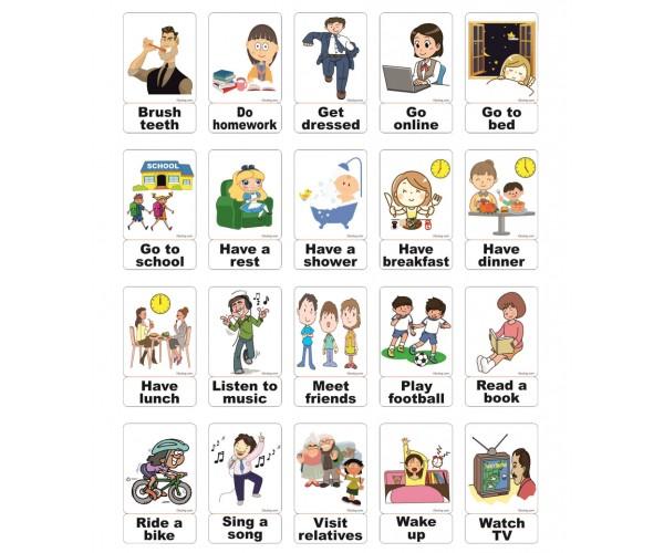 İngilizce Activities (Günlük Aktiviteler) Magnet Kartlar
