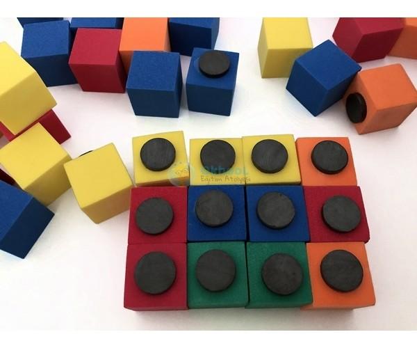Eva Birim Küp - Mıknatıslı - 60 Adet - Renkli