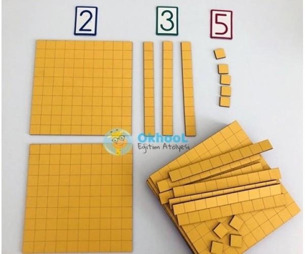 Onluk Taban Blokları - Birlik, Onluk, Yüzlük - Ahşap