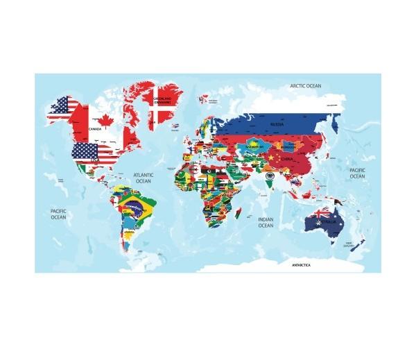 Ülke Bayrakları Dünya Haritası Akıllı Kağıt